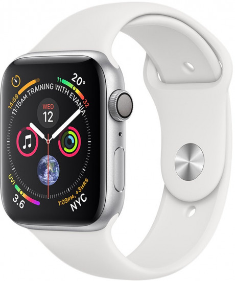 Apple Watch Series 4 GPS 44mm Silver Aluminium Case with White Sport Band